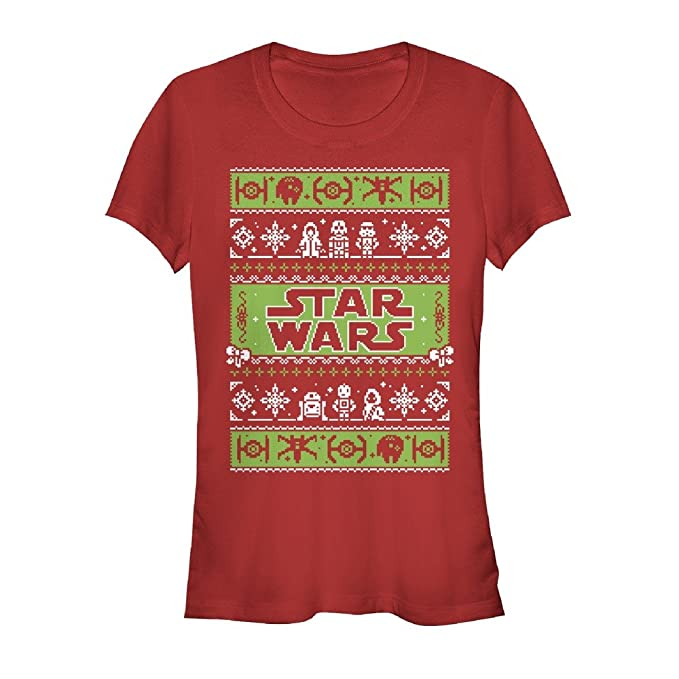 f61c6b30ba9 Star Wars Juniors  Ugly Christmas Sweater Come to The Merry Side Red T-Shirt