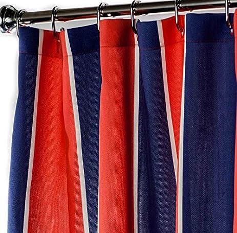 Nautical Shower Curtains Striped Curtain Fabric Navy Blue Red Beach Decor 72 Inch