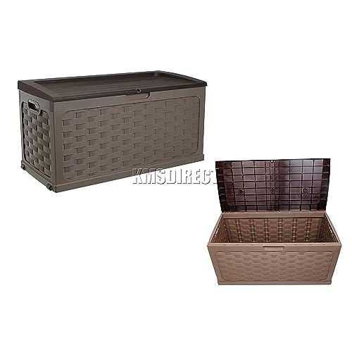 PLASTIC GARDEN STORAGE BOX WITH SIT ON LID CUSHION BOX OUTDOOR STORAGE WICKER DECK BOX RATTEN DESIGN - color Brown