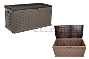 Plastic Garden Storage Box With Sit On Lid Cushion Box Outdoor Storage Wicker Deck Box Ratten Design Color Brown