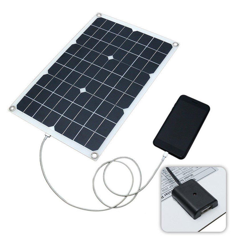 PerGrate El Panel Solar, Cargador Solar 20W Impermeable de la Batería del Panel Solar USB para la Iluminación del teléfono Cargador de Coche Camping ...