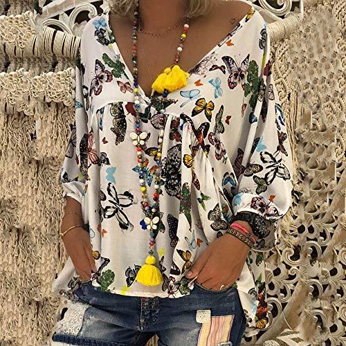 V Longue Imprim Papillon TiaQ Lache Chemisier Dcontracte Manchon Cou Puff Chemise White Haut Femme qtwYp6