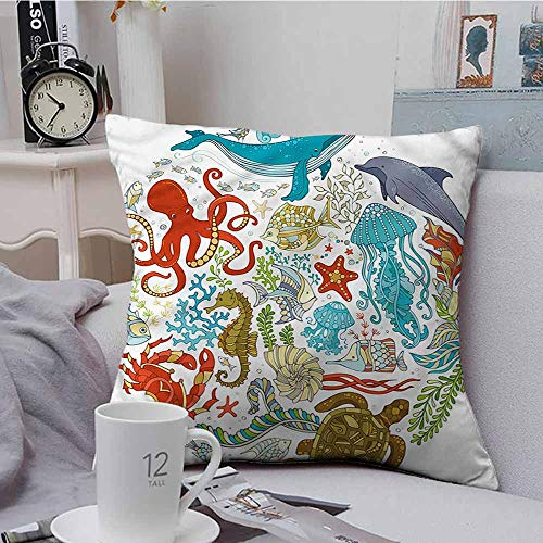 - Fbdace Square Lumbar Cushion Cover Ocean Aquarium Fauna Sealife Coral Premium,Ultra Soft,Hypoallergenic,Breathable 16 X 16 Inch