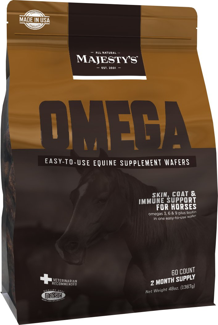 Majesty's Omega Wafers - Superior Horse / Equine Skin, Coat, and Immune Support Supplement - Omega 3, 6, 9, and Biotin - 60 Count (2 Month Supply)