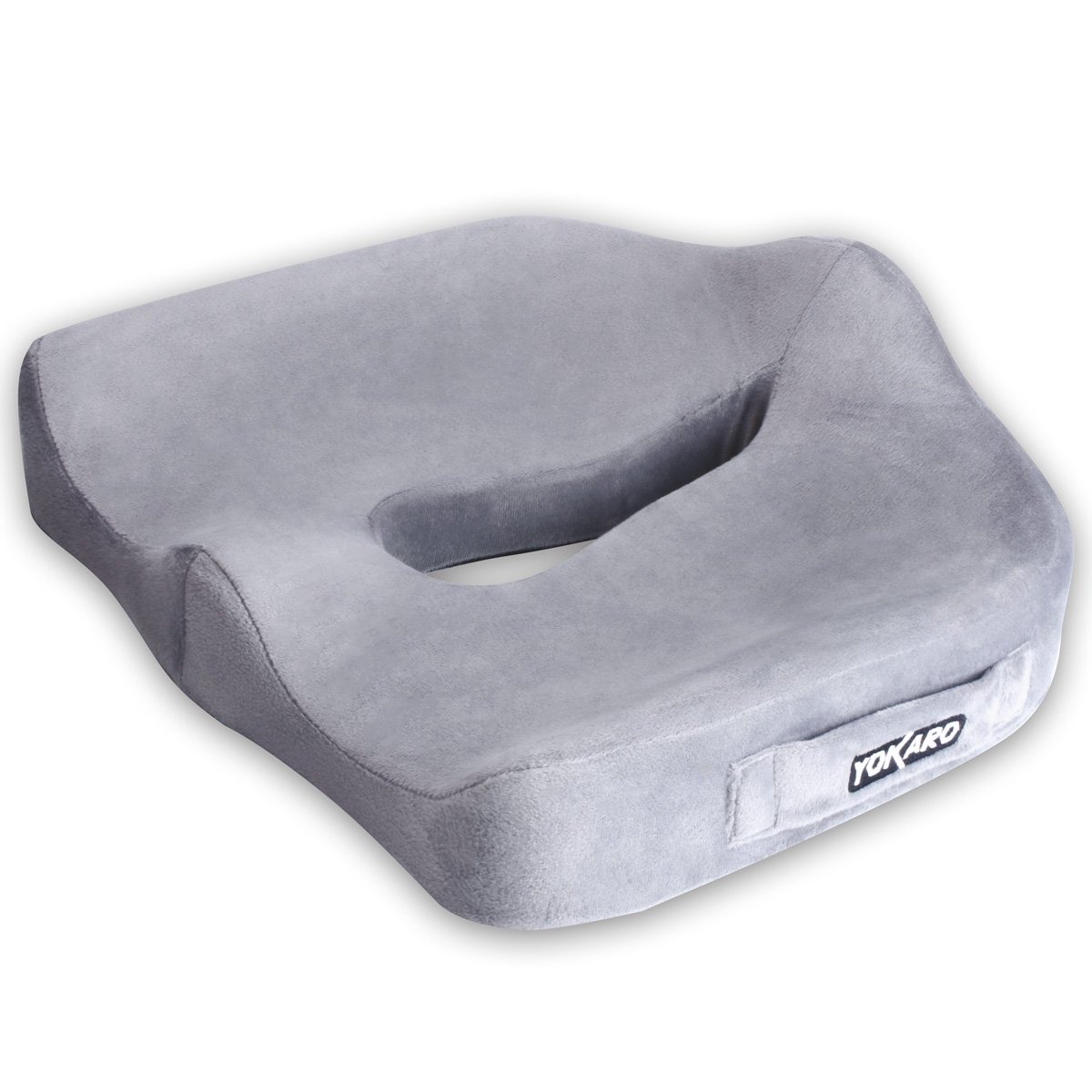 Yokaro Coccyx Seat Cushion, Posture Support Pillow for Wheelchair and Office Chair, Washable Cover (Gray)