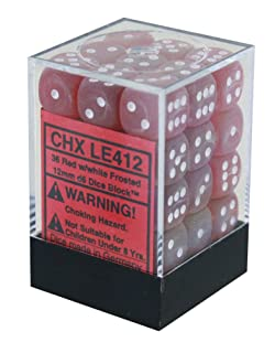 Dice Block with 36 d6 Frosted Red w/white