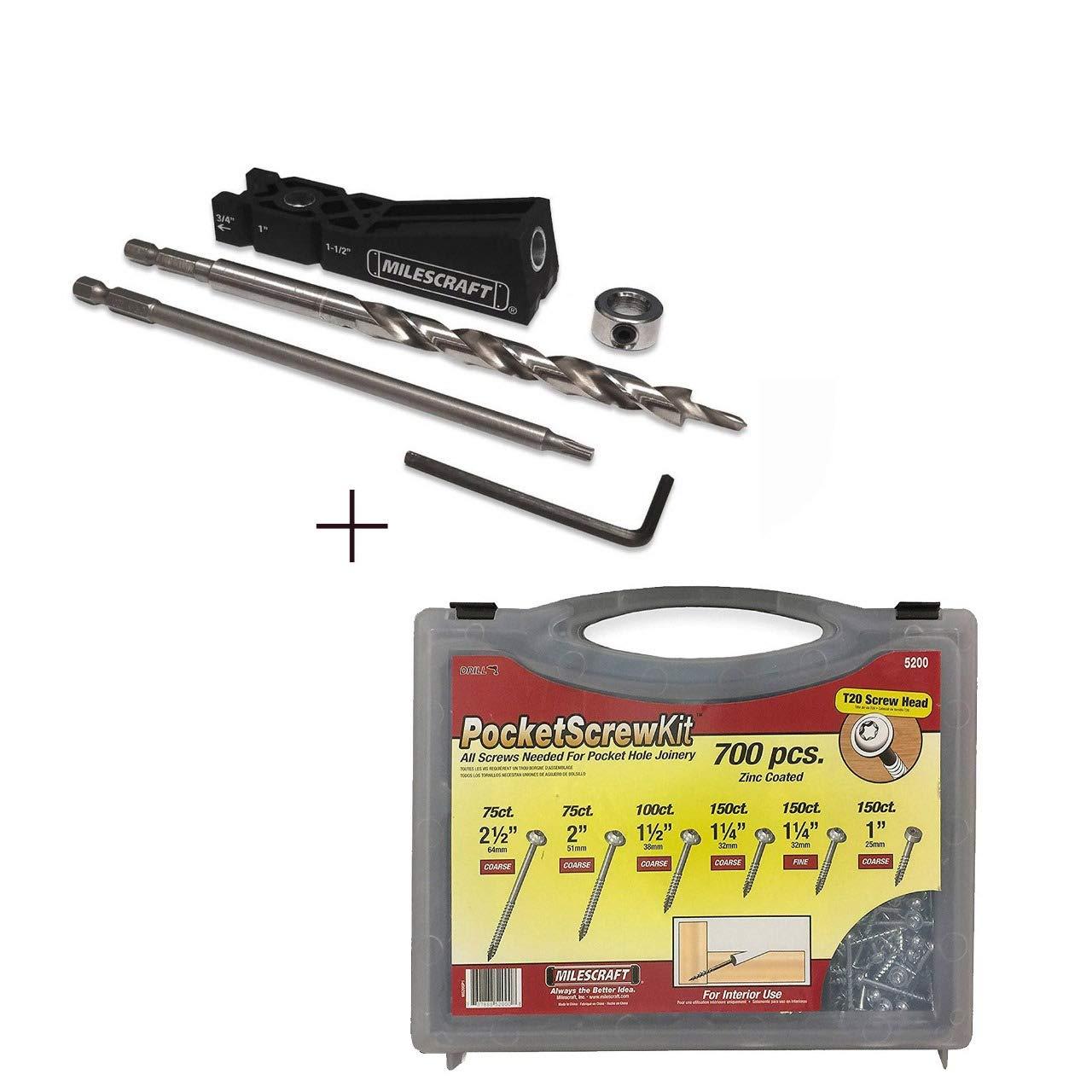 Milescraft Pocket Hole Jig Bundle - Includes One Milescraft PocketJig 100 + One Milescraft PocketScrewKit 700 pcs + Carrying Case