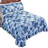 Collections Etc Country Wildflower Patch Plisse Bedspread, Blue, Full