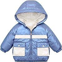 LSHEL - Abrigo corto para niño, con capucha, abrigo de manga larga y ligero para exterior, chaqueta de plumón para niñas…