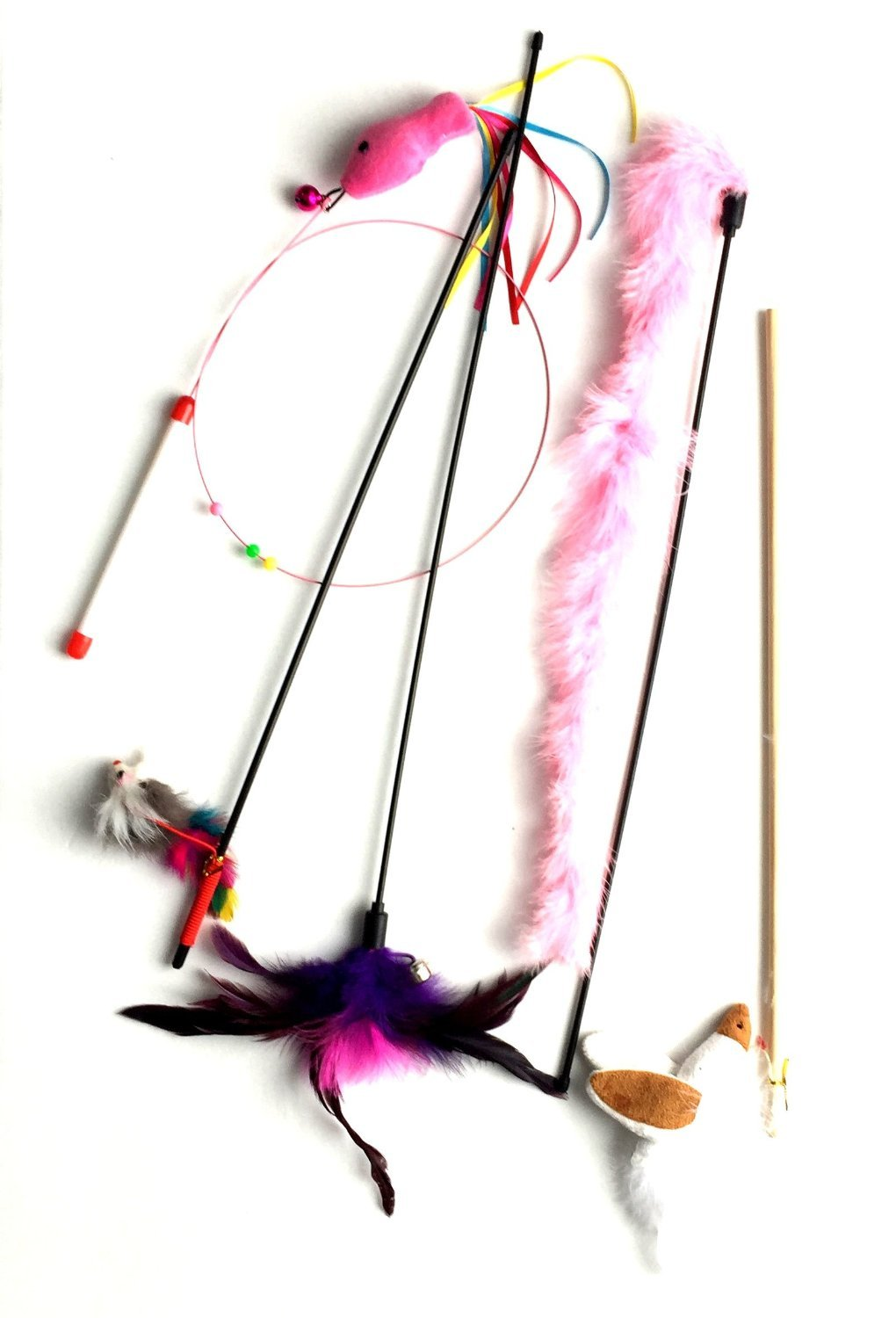 Midlee Cat Wand Toys Variety 5 Pack