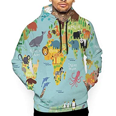 9af3e96644fb Hoodies Sweatshirt Men 3D Print Wanderlust,Animal Map of The World for  Children Kids Cartoon