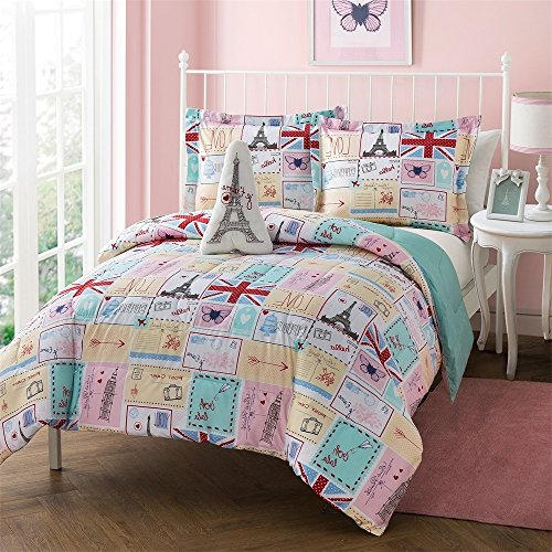 Paris Theme Bedding 4 Piece Full Size Comforter, Shams, Eiffel Tower Embroidered Fleece Plush Pillow Set, French Design, Postcards Butterflies Hearts France Flag, Pink, Blue, Reversible, Polyester ()