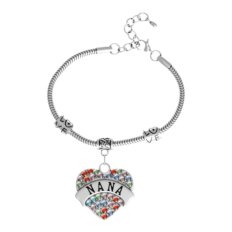 """Nana"" Charm Bracelets | Adorable Nana Heart Bracelet | Best Family Jewelry Gift Luvalti Luvalti-30"