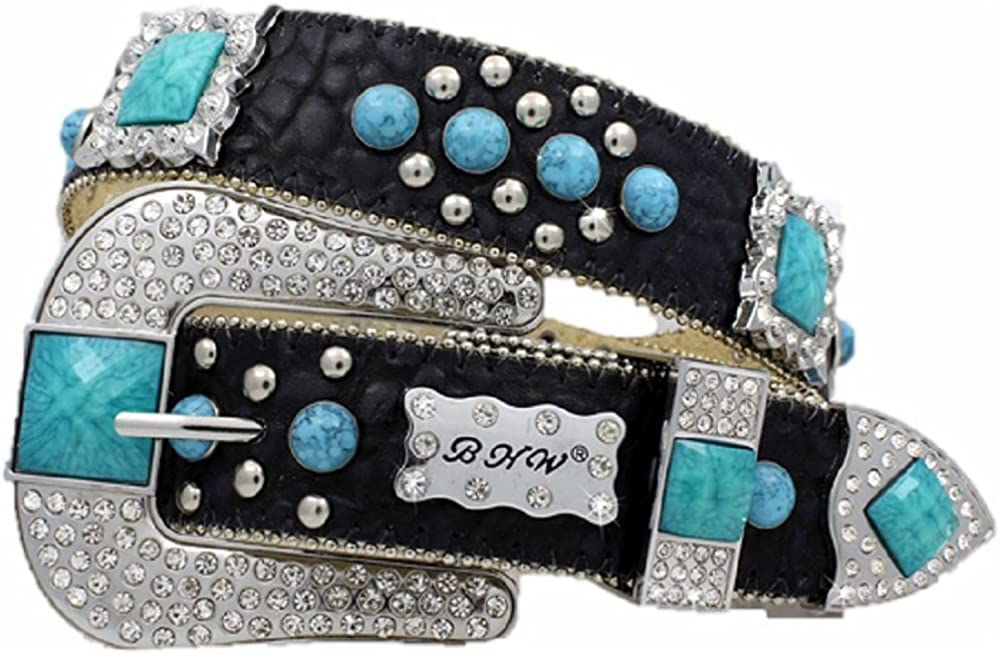 BHW Leather Square Concho Bling Rhinestone Buckle Western Belt Jp Black