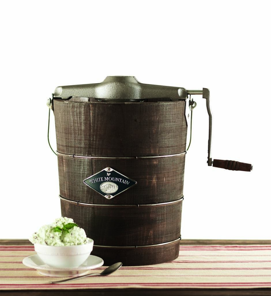 Amazon.com: White Mountain Hand Cranked Ice Cream Maker with Appalachian  Series Wooden Bucket, 4 Quart (PBWMIMH412-SHP): Kitchen & Dining