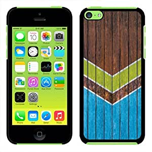 Fincibo (TM) Apple iPhone 5C Light Lite Back Cover Slim Fit Hard Plastic Protector Case - Green Blue Wood Chevron