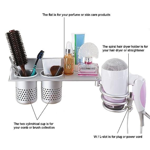 YOCZOX Soporte para secador de pelo para colgar en la pared - Ideal para artículos de peluquería como el secador o el rizador - Repisa de baño de metal con ...