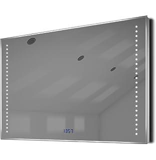 miroir salle de bain ultra fin avec horloge capteur k194 et antibue bella - Miroir Salle De Bain Antibuee Radio