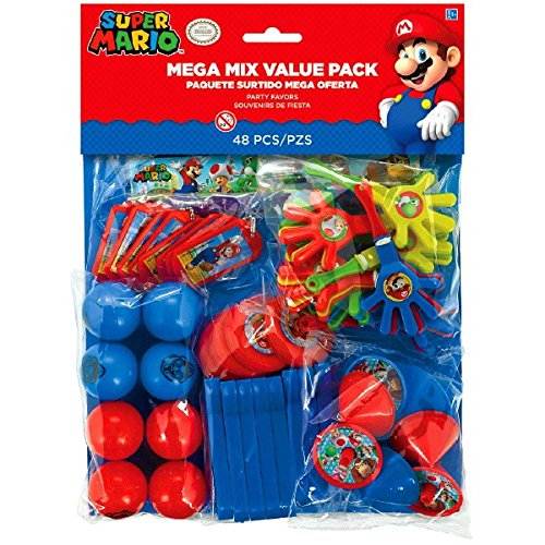 Amscan Super Mario Brothers Birthday Party Mega Mix Value Bundle Favor Set (48 Piece), One Size, (Mario Birthday Parties)