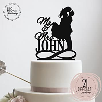 Mr U0026 Mrs Infinity Symbol Personalized Wedding Cake Topper Groom And Bride  Kissing Customized Last Name