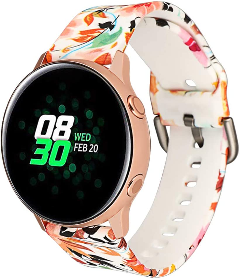 Klaas 20mm Width Silicon Band Compatible with Samsung Galaxy Watch 40mm 42mm/Gear Sport S2/Amazfit Bip/Huawei Smart Watch Quick Release Strap Wristbands for Ticwatch 2/S/E (Swallow Flowers, Size L)