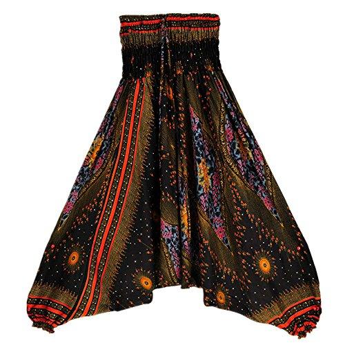(100% Cotton Harem Pants,Serzul Summer Colorful Hippie Yoga Trousers Women Fashion Boho Loose Aladdin Jumpsuit Yellow)