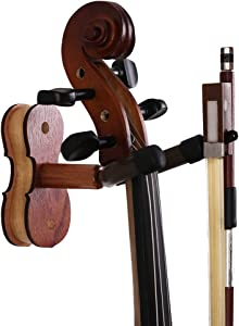 ROSENICE Violin Hanger Home and Studio Wall Mount Hanger(Red Wood Color)
