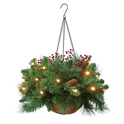 cordless hanging cone berry led basket - Christmas Hanging Baskets