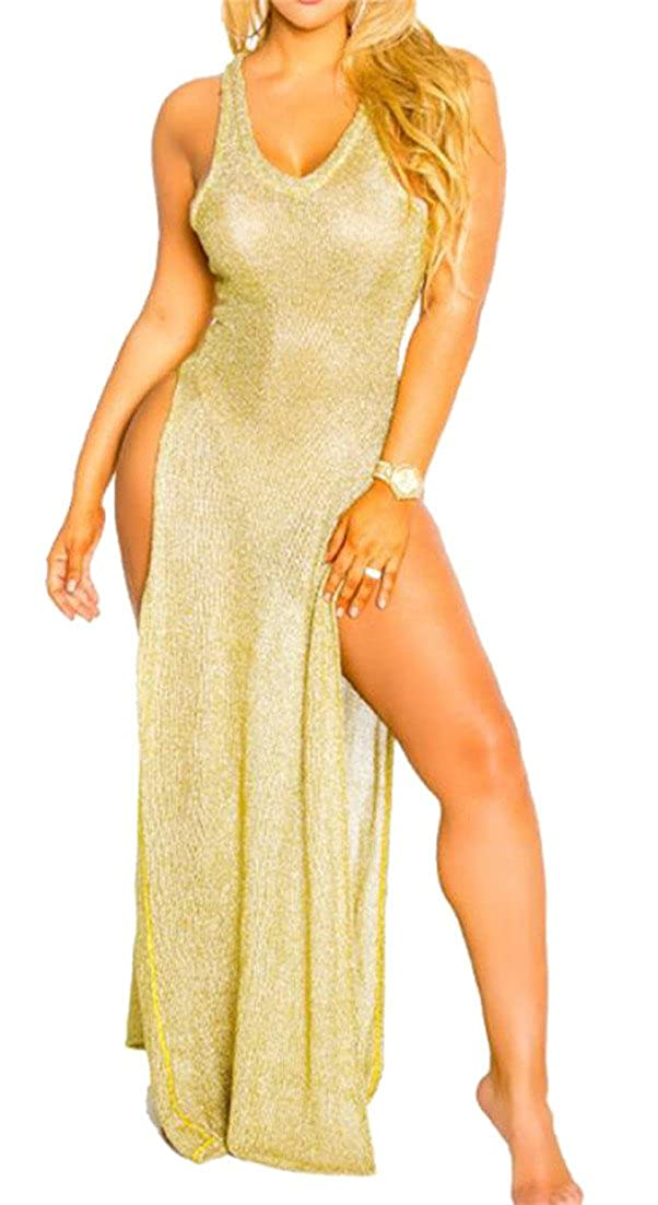 3348b37d55 GRMO-Women Summer Beach Cover Up Swimsuit See Through Long Dress:  Amazon.co.uk: Clothing