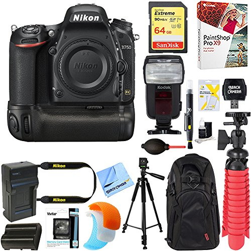 Nikon D750 FX-Format 24.3MP DSLR Camera (Body Only) + Deluxe Power Battery Grip Accessory Bundle by Nikon