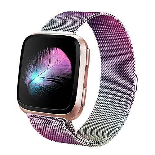 Yisdo for Fitbit Versa Bands Women Men Small Large Replacement Wristband Milanese Loop Stainless Steel Strap Mesh Adjustable Magnetic Closure Accessary Bracelet for Fitbit Versa Fitness Smart Watch