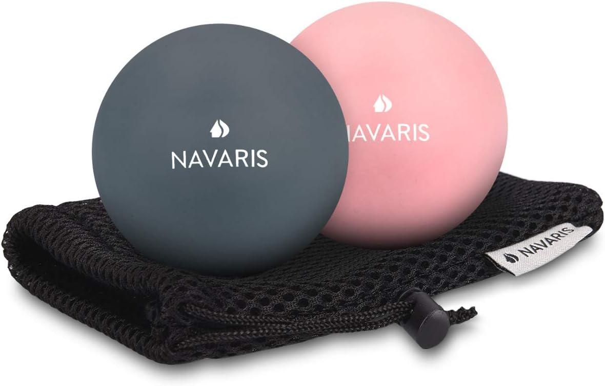Navaris 2x balle de massage - Boule Lacrosse auto-massage muscle pieds dos épaules - Pour crossfit pilates yoga fitness rééducation physiothérapie