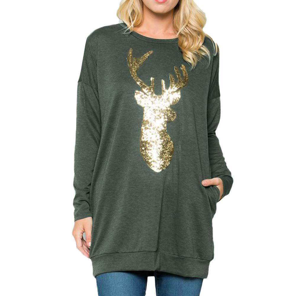 Baiggooswt Women Christmas Long Sleeve Deer Print Blouse Loose Round Neck Sweatshirt Pullover Casual Tops