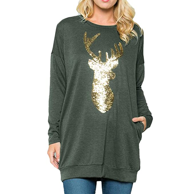 Goosuny Weihnachten Longshirt Damen Rundhals Langarm Elch Wapiti Print  Sweatshirt Loose Bluse Pullover Mit Tasche Casual 2d67ea6e68