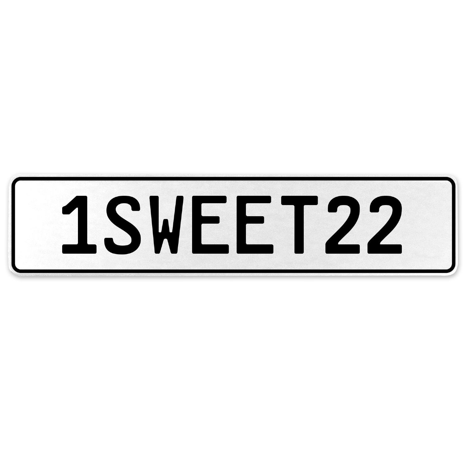 Vintage Parts 554223 1SWEET22 White Stamped Aluminum European License Plate