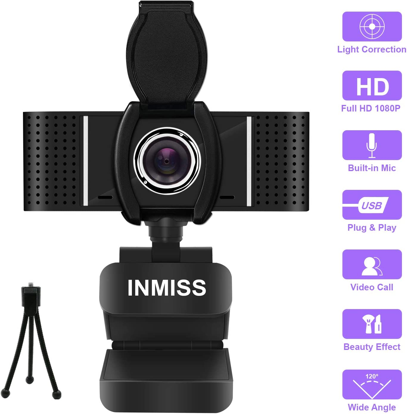 Full HD Webcam 1080P with Microphone Free Tripod Cover Slide - 120° Wide Angle Webcams Streaming USB Web Camera - Pro Computer Camera for Video Calling, Recording, Conferencing, Skype, OBS, PC Laptop