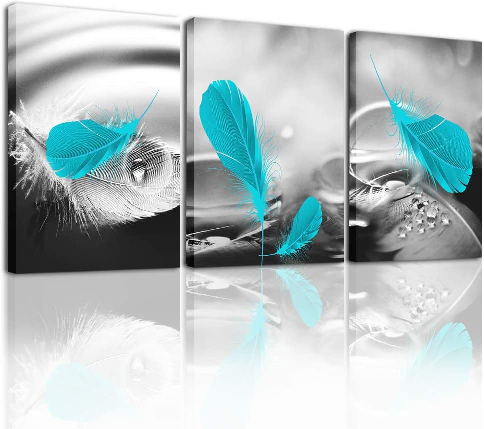 Black and white Wall Decor Canvas Wall Art for Living Room office Bathroom Decorations 3 Piece Framed Canvas prints Artwork modern wall decorations for bedroom blue feathers Pictures Home Decoration