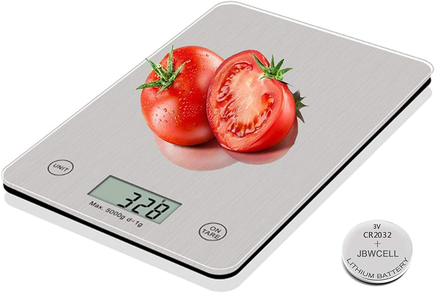 Food Scale, 11lb Digital Kitchen Scale Weight Grams and oz for Cooking Baking, 1g/0.1oz Precise Graduation, Stainless Steel and Tempered Glass