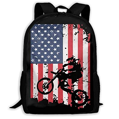 JimHappy School Backpack American Flag Motocross Dirtbike 3D Adult Outdoor Leisure Sports Backpack: Toys & Games