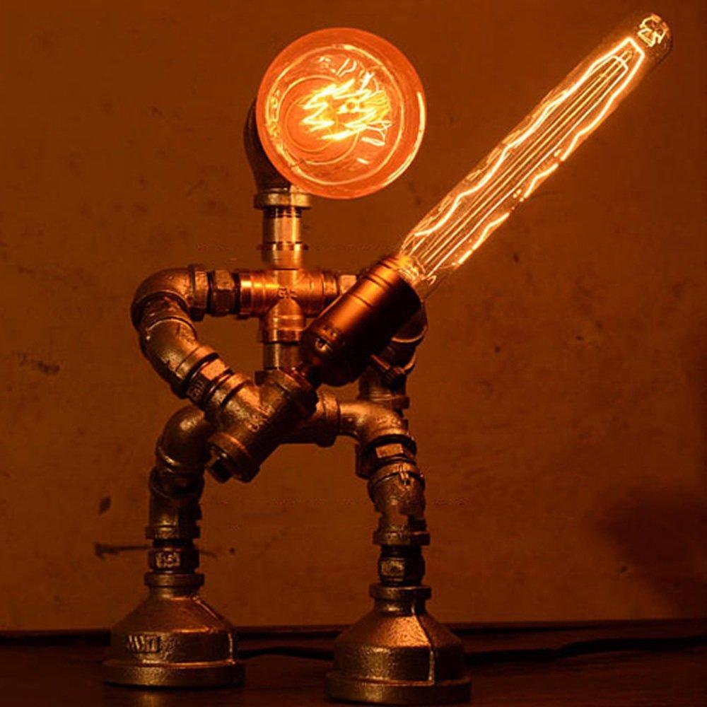 American Industrial Bar Cafe Eisen Tischlampe Retro Rohr Retro Art Schreibtischlampe Kreative Eisen Roboter Thema Tischleuchte