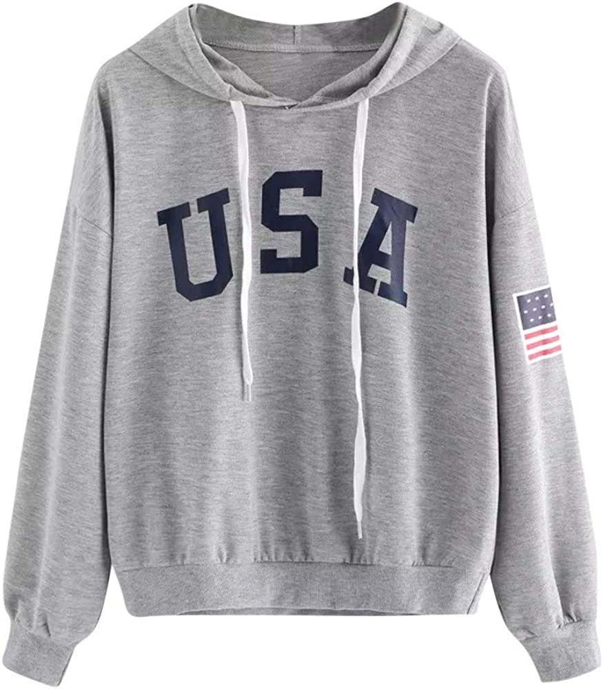 Womens Sweatshirts Letter Print Hooded Drawstring Pullover Sweatshirts Blouses Tops