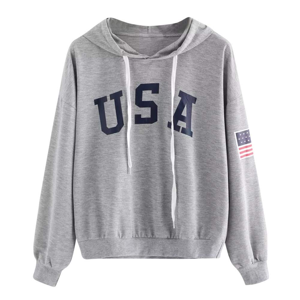 Women Fashion Sweatshirt,Lelili USA Letter and Flag Printed Long Sleeve Crewneck Casual Pullover Tops