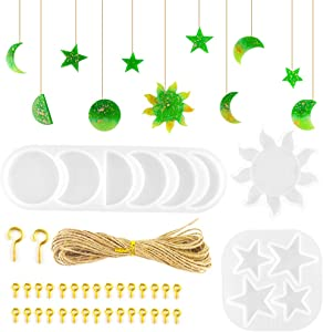 Juanya 36PCS Moon Phase Silicone Mold Set, Moon Crescents Lunar Eclipse Resin Mold, Sun Star Young New Moon Epoxy Casting Mold for DIY Wall Hanging, Home Decor, Pendant, Keychain, Jewelry Making