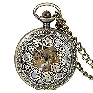 Avaner Steampunk Retro Half Hunter Copper Gear Skeleton Hand Wind Mechanical Roman/Arabic Numeral Analog Display Pocket Watch with 14″Chain