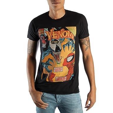 3f71d24a97fb06 Classic Venom Marvel Comic Book Cover Artwork Men's Black Graphic Print  Boxed Cotton T-Shirt