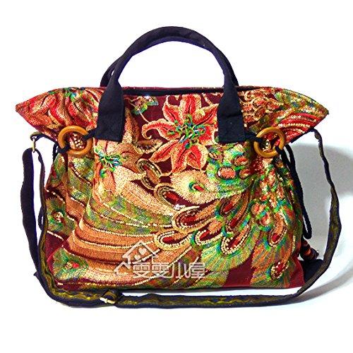 diseño el en Viento para Bolso niña Bordado Bolsa de negro Wind BISSER Yunnan de de con Negro Girl Bordado Hombro Retro Mano 7qgZSI