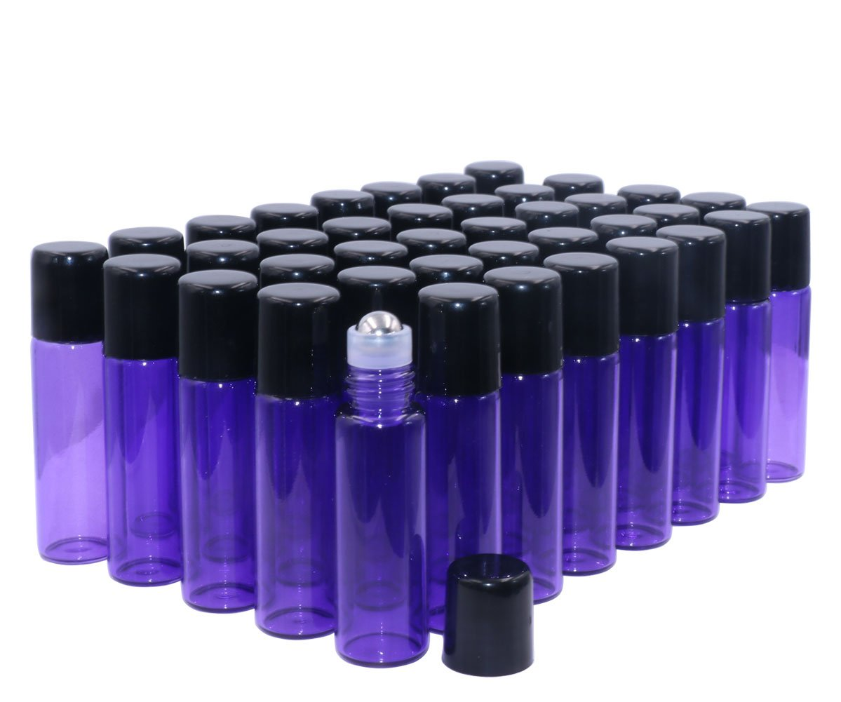Glass Roller Bottles,5ml 1 6oz Purple 40 Pack Roll on Glass Bottles for Essential Oils Aromatherapy,Perfume Oils,Lip Balms,DIY Blends creations,with Stainless Steel Roller Ball Black Lid-FREE Dropper