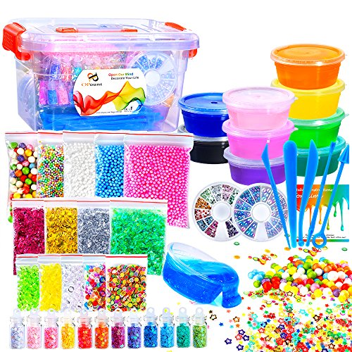 PP OPOUNT 44 Pack Making Kit Supplies for Slime Including Crystal Slime, Foam Balls, Fishbowl Beads, Fruit Slices, Sugar Paper, Tools and Wooden Spoon for DIY Art Homemade Slime