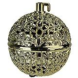 "2.75"" Gold Filigree Chirping Bird Ball Shaped Christmas Ornament"