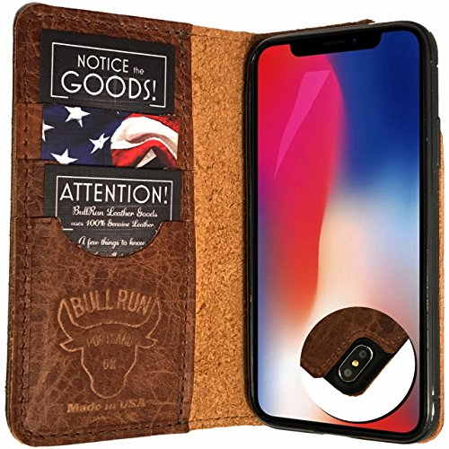 - iPhone Xs case/iPhone X Wallet Case Genuine Leather, Raised Screen Protector, Folio Case/Flip Case, Distressed American Full Grain Leather, Made in USA (Dark Brown)